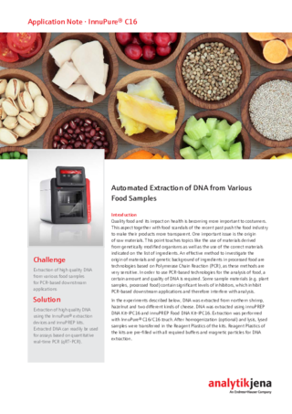 AppNote InnuPure C16 touch Automated Extraction DNA Food Samples