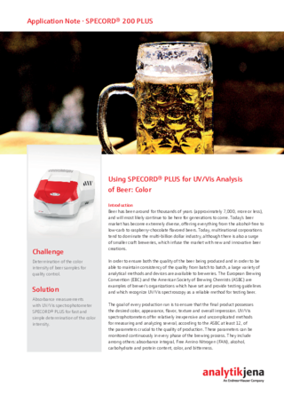 Using SPECORD PLUS for UV/Vis Analysis of Beer: Color