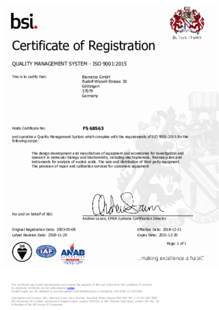 ISO Certificate Biometra GmbH | QMS (FS) which complies with the requirements of ISO 9001:2015 (following scope...)
